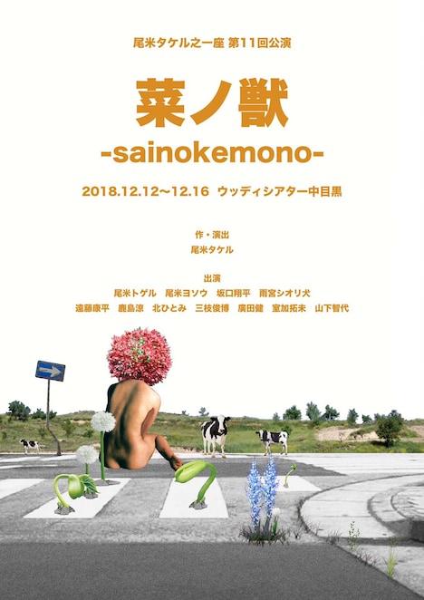 尾米タケル之一座 第11回公演「菜ノ獣-sainokemono-」チラシ表