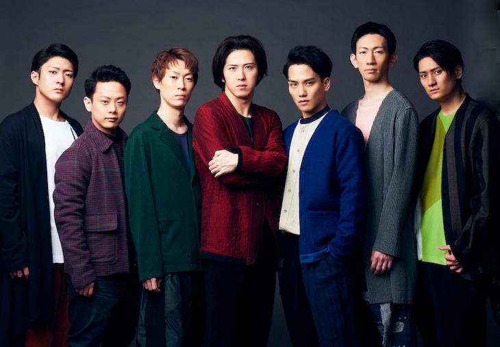 左から中村橋之助、中村種之助、坂東巳之助、尾上松也、中村歌昇、坂東新悟、中村隼人。