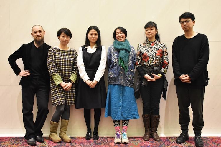左から鳴海康平、羊屋白玉、特別賞を受賞した渡辺鈴、篠田千明、やなぎみわ、三浦基。