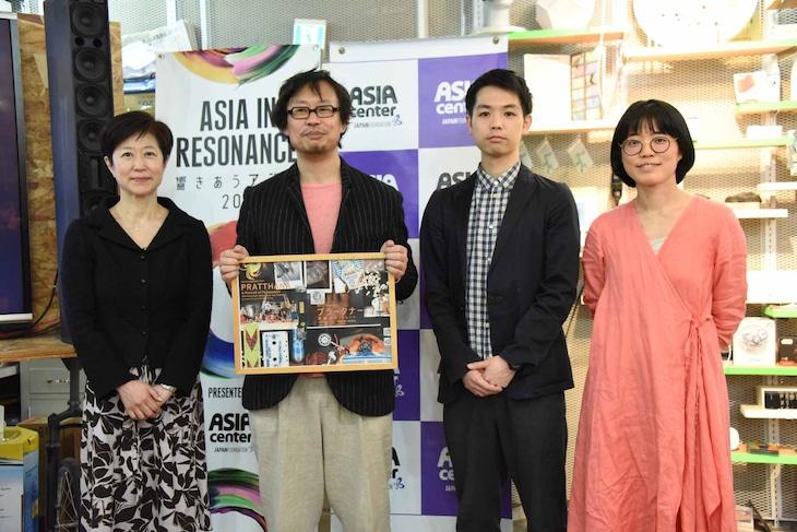 左から国際交流基金の柄博子理事、岡田利規、ワークショップデザイナーの臼井隆志氏、中村茜プロデューサー。