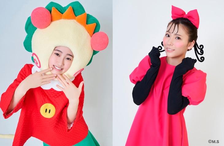 左から向井葉月(乃木坂46)扮するコジコジ、宮崎理奈扮するペロちゃんのビジュアル。
