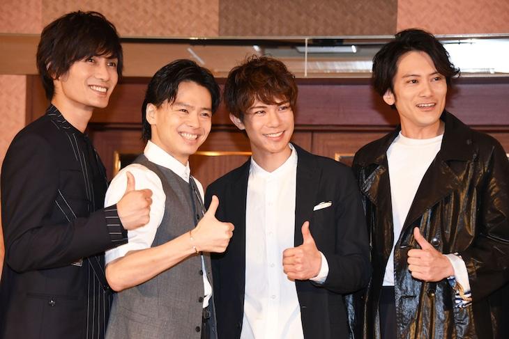 ミュージカル「フランケンシュタイン」ファン感謝祭より、左から加藤和樹、中川晃教、柿澤勇人、小西遼生。