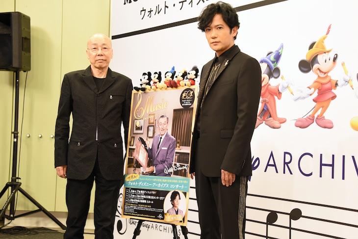 「ウォルト・ディズニー・アーカイブス コンサート」記者発表会より。左から音楽監督の島健、ナビゲーターの稲垣吾郎。