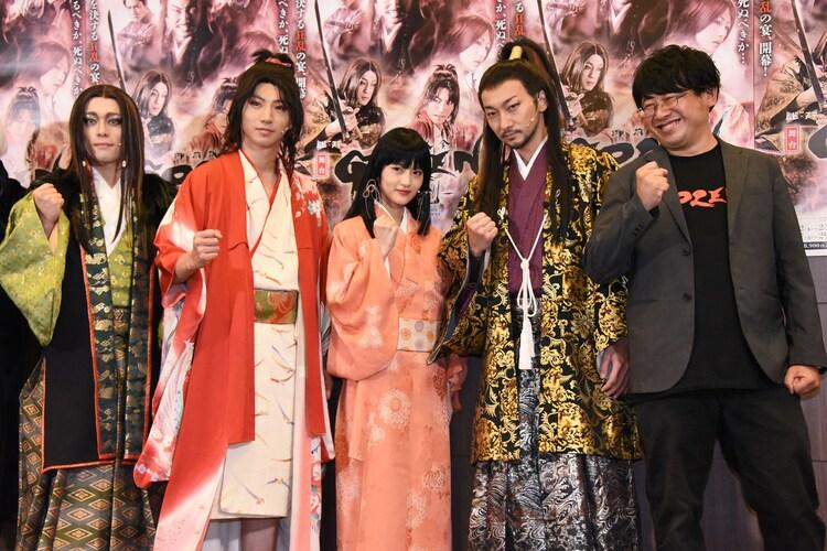 左から元木聖也、矢崎広、若月佑美、波岡一喜、毛利亘宏