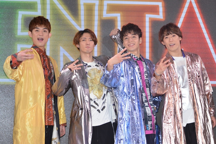 「ENTA!2 4U.Zeppin de SHOW」製作発表より。左から松崎祐介、辰巳雄大、福田悠太、越岡裕貴。