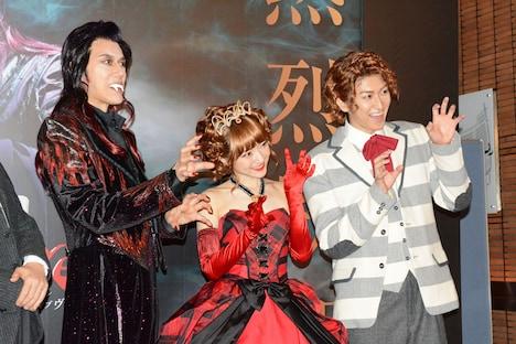 ミュージカル「ダンス オブ ヴァンパイア」初日前会見より。左から山口祐一郎、神田沙也加、相葉裕樹。