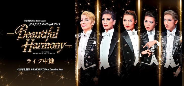 宝塚歌劇105th Anniversary「タカラヅカスペシャル2019-Beautiful Harmony-」ライブビューイングの告知ビジュアル。