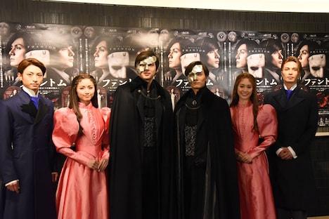 ミュージカル「ファントム」囲み取材より、左から木村達成、木下晴香、城田優、加藤和樹、愛希れいか、廣瀬友祐。