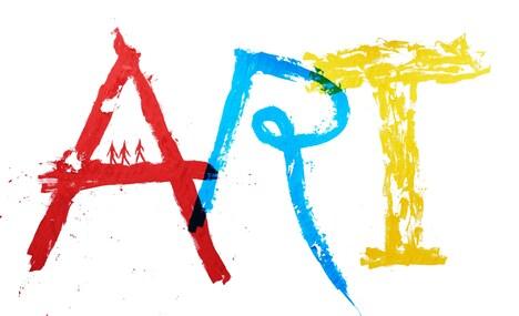 出演者たちの手による「ART」ロゴ。イッセー尾形が「A」、小日向文世が「R」、大泉洋が「T」を描いた。