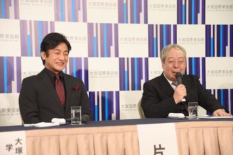 システィーナ歌舞伎「NOBUNAGA」製作発表より、左から片岡愛之助、水口一夫。
