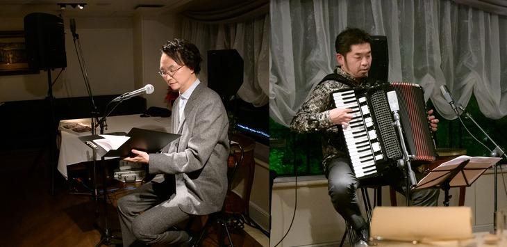 TOKYO FM「yes! ~明日(あした)への便り~presented by ホクトプレミアム霜降りひらたけ」公開収録の様子。左から長塚圭史、田ノ岡三郎。