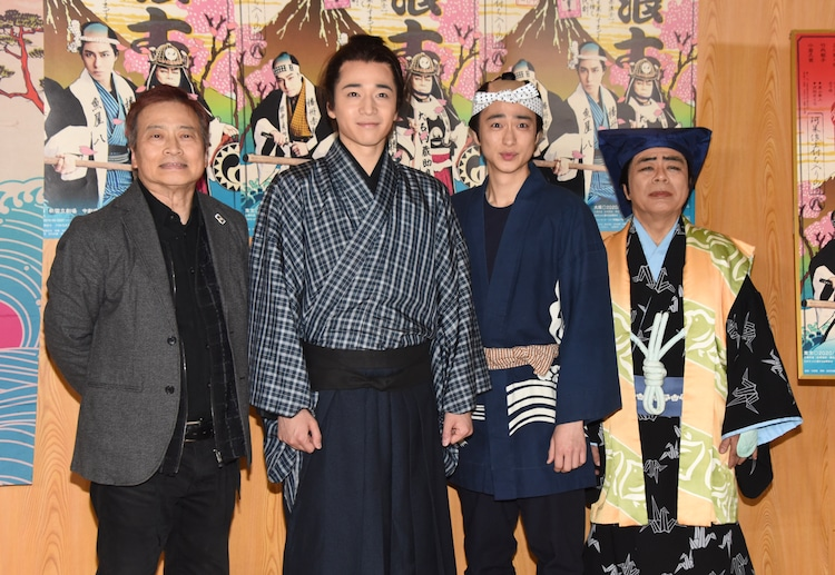 左からラサール石井、福田悠太(ふぉ~ゆ~)、戸塚祥太(A.B.C-Z)、小倉久寛。