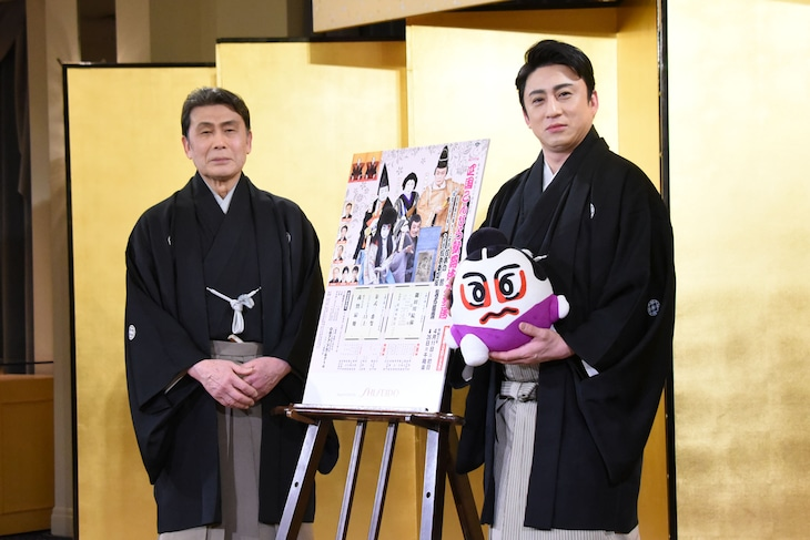 第36回「四国こんぴら歌舞伎大芝居」製作発表会見より、左から松本白鸚、松本幸四郎。