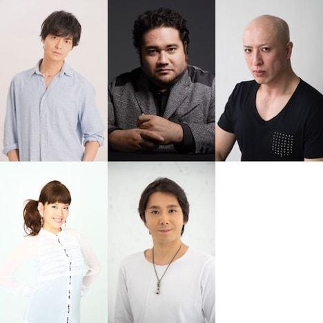上段左から上口耕平、勝矢、吉田メタル。下段左から可知寛子、小林遼介。