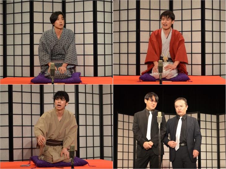 上段左から山田悠介、堀井新太。下段左から三津谷亮、米粒写経。