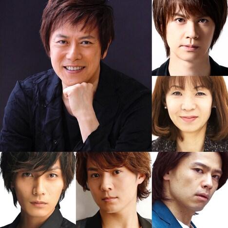 左上から時計回りに、山口祐一郎、浦井健治、保坂知寿、中川晃教、平方元基、加藤和樹。