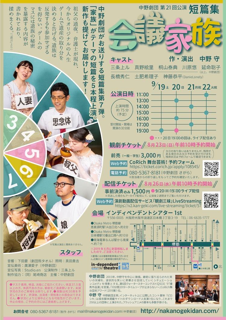 中野劇団 第21回公演 短篇集「会議家族」チラシ裏