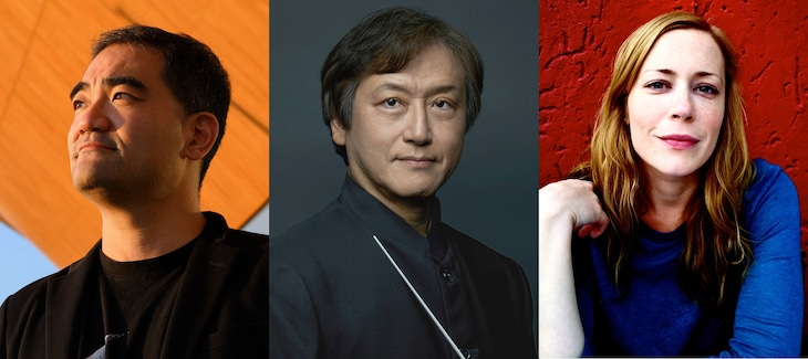 左から藤倉大、 大野和士、 リディア・シュタイアー。
