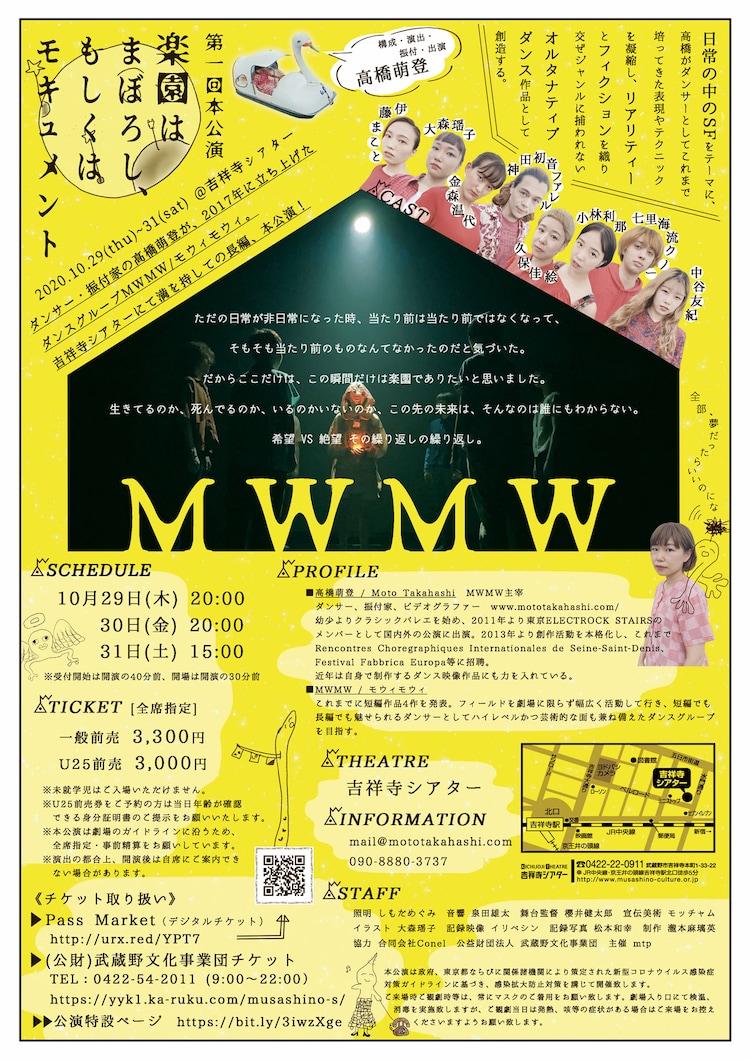 MWMW 第1回本公演「楽園はまぼろし、もしくはモキュメント」チラシ裏