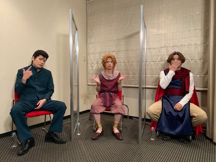 「キャスト座談会DVD」より。左から浦飯幽助役の崎山つばさ、朱雀役の木津つばさ、コエンマ役の荒木宏文。