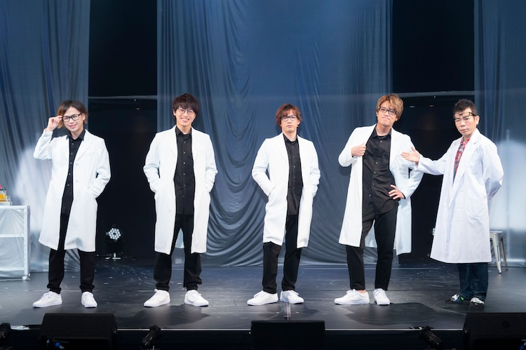 「Retrial:実験室」カンパニーの面々。左から小川優、松本幸大、江田剛、原嘉孝、マギー。