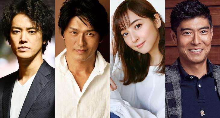 左から桐谷健太、高橋克典、佐々木希、高嶋政宏。