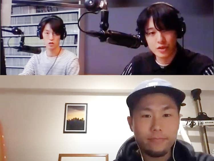 オンラインインタビューの様子。上段左から森田美勇人、真田佑馬。下段は川添孝信。