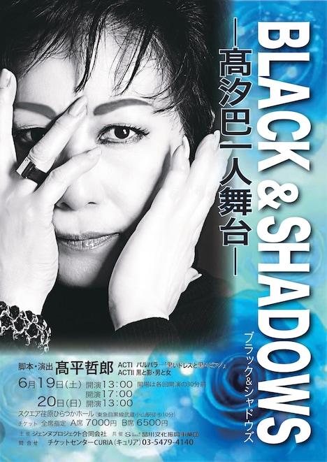 「BLACK&SHADOWS ブラックアンドシャドウズ ~高汐巴一人舞台~」チラシ