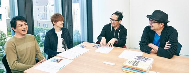 左からダグ役の三上哲、キリル役の天﨑滉平、シリーズ構成・脚本を務めた鈴木智尋、監督の古田丈司。
