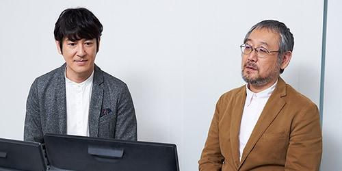 左から田中直樹、田中圭一。取材日はドラマの配信前だったため、2人には「うつヌケ」の予告編や、第1話を収めたDVDをプライベート・ビエラ15TD8で鑑賞してもらった。