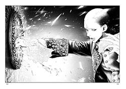 「イノサンRougeルージュ」2巻より。祖母の形見とも言える壁掛け鏡を叩き割るマリー。©︎坂本眞一/集英社