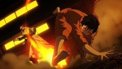 アニメ「炎炎ノ消防隊」より、シンラのバトルシーン。