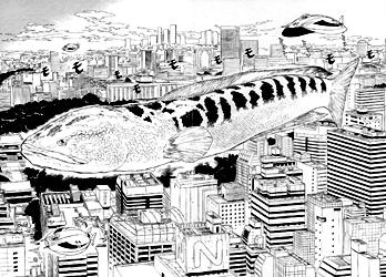 宇宙雷魚と呼ばれる魚が空を飛ぶところ