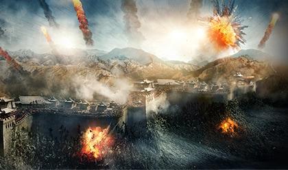 映画「グレートウォール」より。万里の長城を襲撃する饕餮。