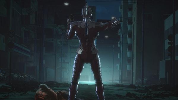 第6話「ウルトラマンという呪い」に登場した、SEVEN SUITを装着した諸星弾。固有武器であるスペシウムソードでブリス星人を斬るが、斬ったあとに腕で血を払う動きは監督の指示によるものではないという。