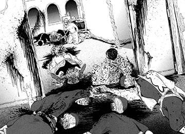 体に宿した道具の暴走で、次々と軍人たちの首をはねてしまったデュルク。血まみれの部屋でうなだれる姿が事態の凄惨さを物語っている。