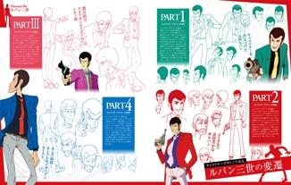アニメシリーズPART1からPART4までのデザイン画を掲載しながら、キャラクターの魅力に迫っていく。