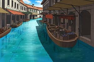 劇中に登場するメロウ水路街。もともとはスラム街だったが、水棲魔族が住みやすい街に改修された。
