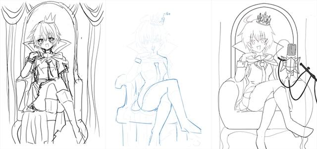 左から、大空直美による線画、稲葉白によるアドバイス、アドバイスを受けて大空直美が修正した線画。