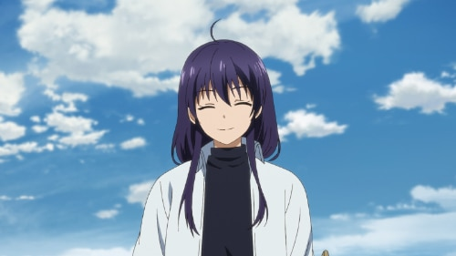 TVアニメ「ピーチボーイリバーサイド」より、ミコト(CV:東山奈央)。普段は物腰の穏やかな少年だが……。