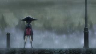 「プリンセス・プリンシパル Crown Handler」オープニング映像より、雨に打たれるちせを描いたカット。