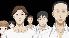 左から3番めの長髪が森田(CV:前野智昭)、右端の坊主が安田(CV:鈴木達央)。