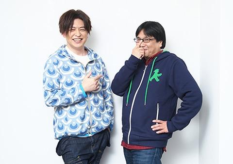 (左から)緑川光、高松信司監督(ポーズ指定:佐野菜見)。