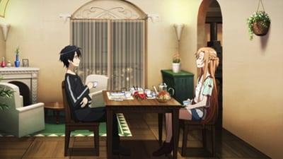 アニメ「ソードアート・オンライン」より。アスナの作った料理をゲーム《SAO》内で食べるキリト。