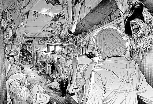 「テスラノート」より。ワープによって移動した列車内は悲惨な状況に。