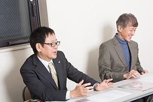 左から塚田英明、白倉伸一郎。