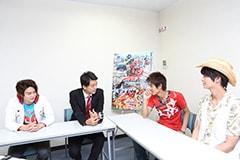 左から、稲葉友、竹内涼真、西川俊介、多和田秀弥。