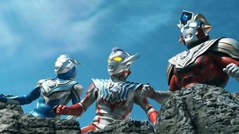 「ウルトラギャラクシーファイト 大いなる陰謀」より、左からウルトラマンフーマ、ウルトラマンタイガ、ウルトラマンタイタス。