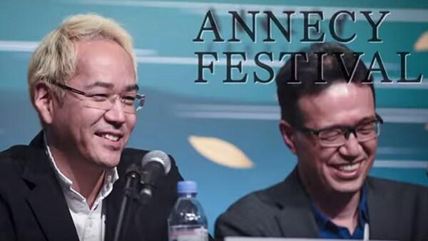 アヌシー国際アニメーション映画祭2019に参加した神山健治(左)と荒牧伸志(右)。