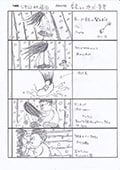 春花にクラスメイトが襲いかかるシーンの絵コンテ。